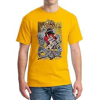 Red Sonja Cover slaget mænds guld T-shirt