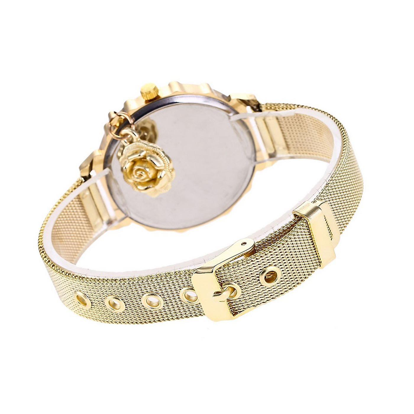 Classy Yellow Gold Flower Watch Luxury Stones Elegant Time GOLD Mesh Bracelet