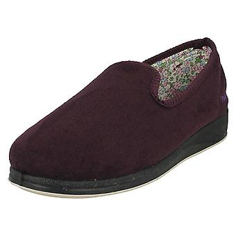 Ladies Padders Slip On Slipper Shoes Repose 18 - Purple Textile - UK Size 3 2E - EU Size 36 - US Size 5