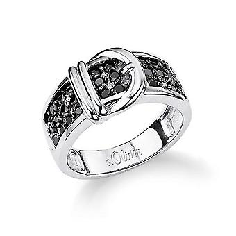 s.Oliver jewel ladies silver cubic zirconia ring black SO496