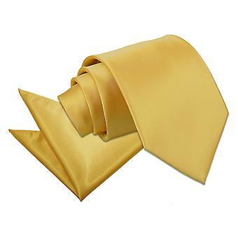 Satin Krawatte Gold Plain & Einstecktuch Satz