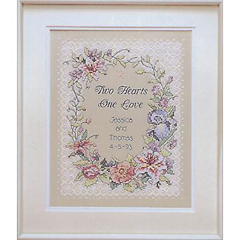 Two Hearts Wedding Record Stamped Cross Stitch Kit-11