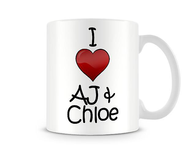 Jag älskar AJ Chloe tryckta mugg