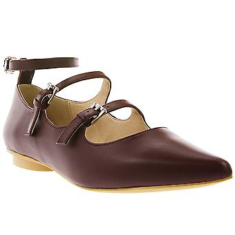 Heine real leather Mary Jane shoe with ankle strap Bordeaux
