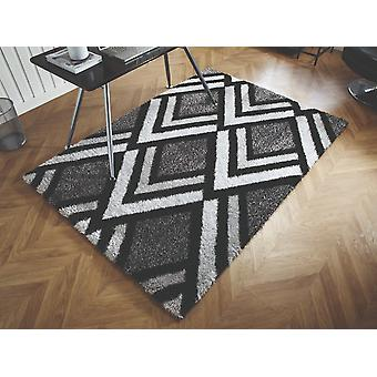 Velvet Bijoux Black Grey  Rectangle Rugs Modern Rugs