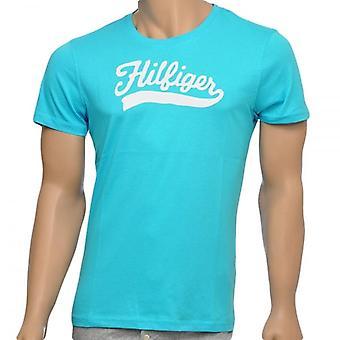Tommy Hilfiger økologisk bomuld korte ærmer Crew Neck T-Shirt, floden blå, Medium