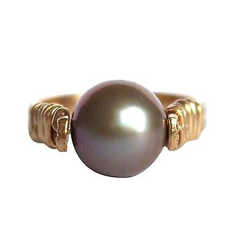 Gemshine - women's - ring - pull-ring - gold plated 8 mm - cultured pearls - Tahitian - grey-