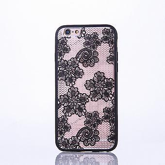 Mandala di Mobile Shell per Samsung Galaxy S6 design Custodia motivo fiori coperchio paraurti nero