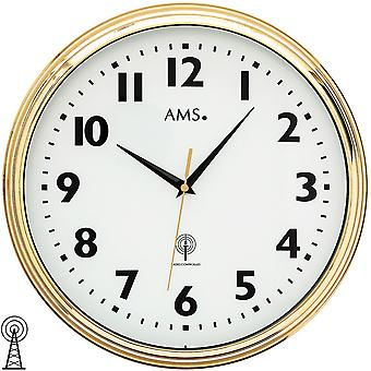 AMS 5963 wall clock radio radio controlled wall clock analog brass colors golden round with glass