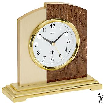 Desk clock clock radio design synthetic leather and aluminium application