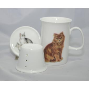 English Bone China Mug, Lid and Infuser Cats