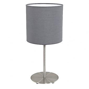 Eglo Pasteri Bedside Lamp With Grey Drum Shade