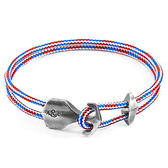 Anchor & Crew Project-RWB Red White and Blue Delta Anchor Silver and Rope Bracelet