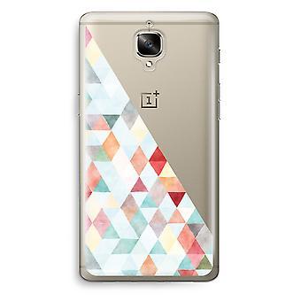 OnePlus 3 Transparent Case (Soft) - Coloured triangles pastel
