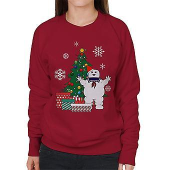 Stay Puft Ghostbusters Around The Christmas Tree Women's Sweatshirt