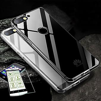 For Huawei Y5 2018 Silikoncase TPU transparent + 0.3 H9 glass bag case protective cover