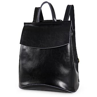Black backpack in genuine cow leather, K8504S