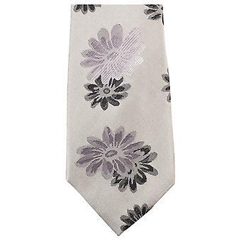 Knightsbridge Neckwear Floral Tie - Beige/Grey