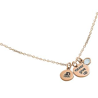 Gemshine chain float -Never Give Up- 925 silver, gold plated, rose chalcedony
