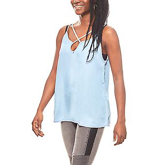 Noisy may soft flowing jeans top with crossed straps blue