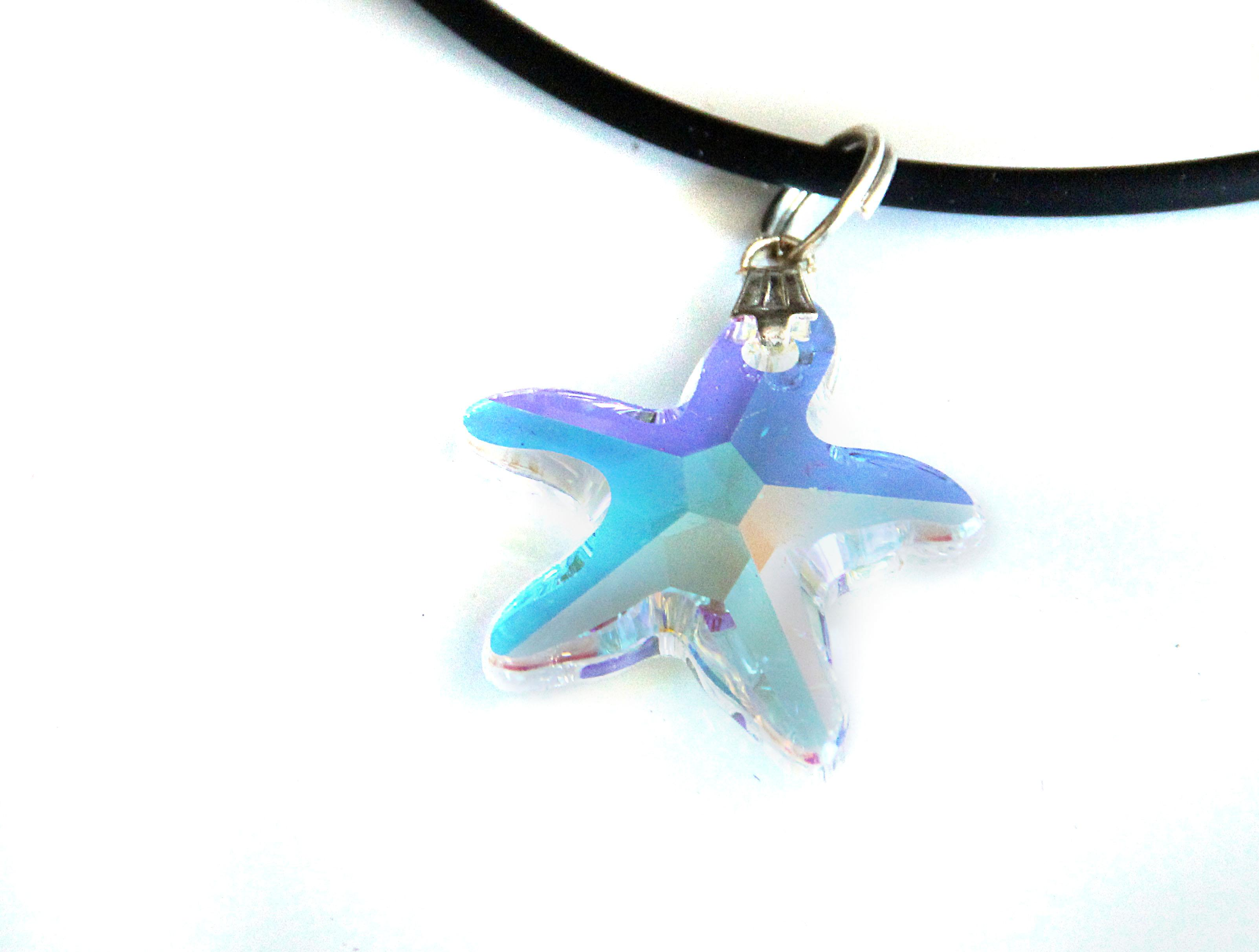 Waooh - Jewelry - Swarovski / star pendant pearl blue sheen and velvet cord