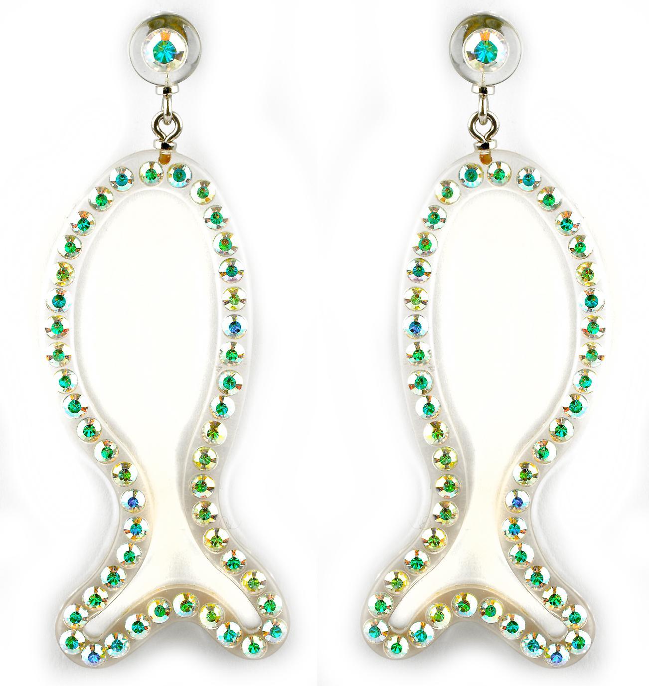 Waooh - Bijoux Fantaisie - WJ0704 - Boucles D'Oreille avec Strass Swarovski Style Diamant sertis sur Monture Perspex Blanche en forme de Poisson