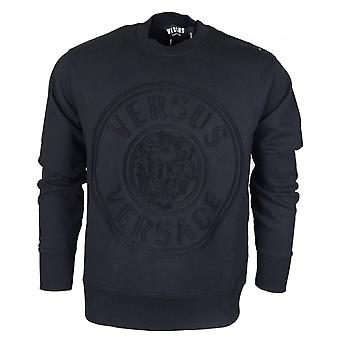 Versace Round Neck Regular Fit Stitched Logo Black Sweatshirt