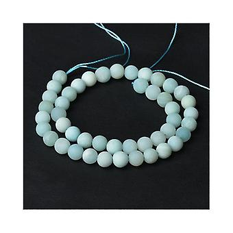 Strand 40+ Pale Blue Amazonite 8mm Frosted Plain Round Beads CB52157-3