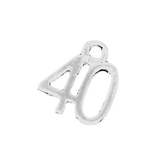 Packet 5 x Antique Silver Tibetan 12mm Number 40 Charm/Pendant ZX03775