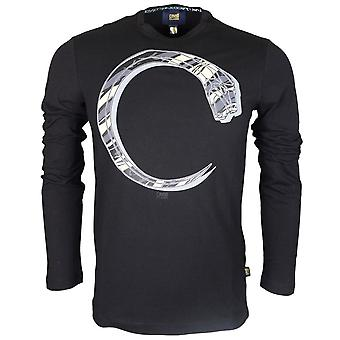 Cavalli Class Jersey Stretch Snake Black Long Sleeve T-shirt