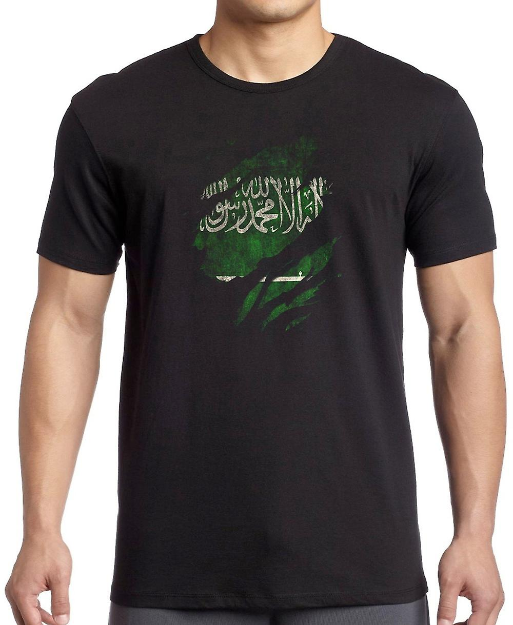 Saudi Arabian Grunge Flag Ripped Effect Kids T Shirt