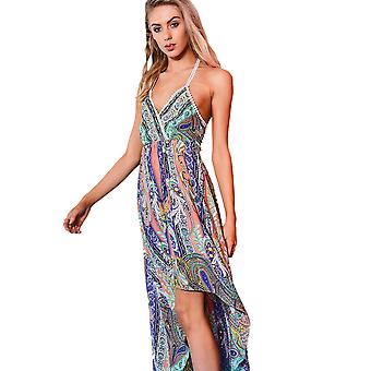 Danity Printed Dip Hem Maxi Dress With Halter Neck In Orange