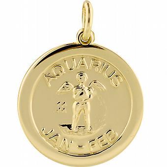 9ct Gold 22mm round Zodiac Disc Pendant Aquarius