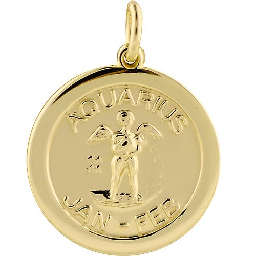 9ct Gold 22mm round Zodiac Disc Pendant Aquarius
