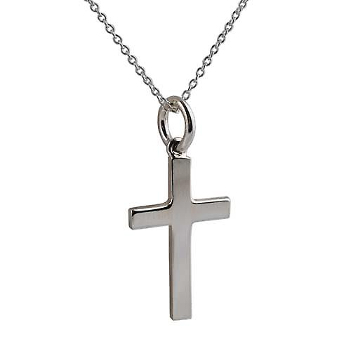 Silver 20x12mm plain block Cross with Rolo Chain