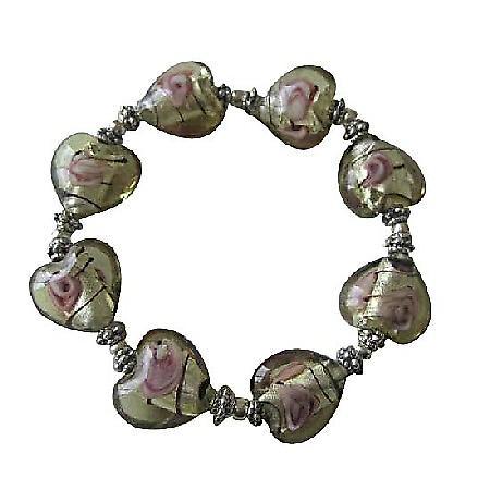 Heart Millefiori Venetian Glass Stretchable Bracelet w/ Silver Beads