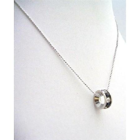 Black Ring Pendant Necklace Embedded w/ Cubic Zircon Necklace