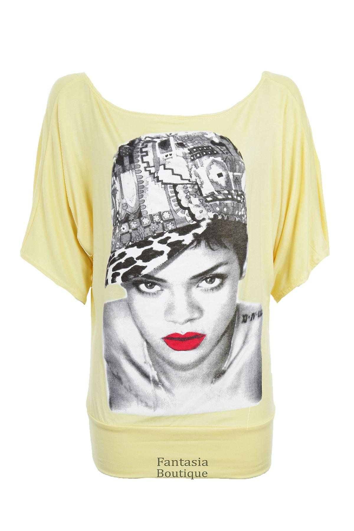 New Ladies Short Sleeve Celeb Print Baggy Women's Top