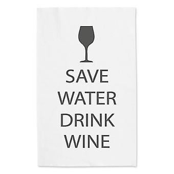 Save Water Drink Wine White Tea Towel Grey Text
