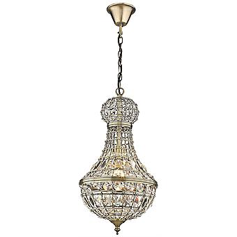 Spring Lighting - Craven Arms Large Antique Brass Tall Chandelier With Crystals  GJOD030BC1TUBU