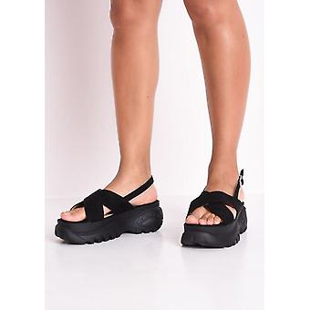 Atravesse a plataforma robusta sandálias preto
