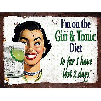 Vintage Metal Wall Sign - Gin & Tonic Diet