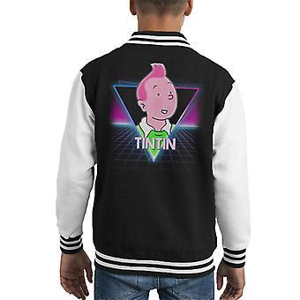 Kuifje Retro 80s Neon landschap Kid's Varsity Jacket