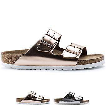 Womens Birkenstock Arizona Kippfuß Bett metallische Doppel Schnalle Sandalen