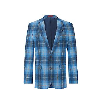 Harris Tweed Mens Blue kontrollera Tweed jacka passar regelbundet 100% ull Notch kavajslag
