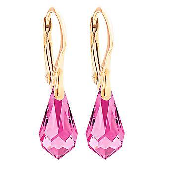 Ah! Jewellery Women's 11mm Light Rose Crystals From Swarovski Drop Pendant Earrings.