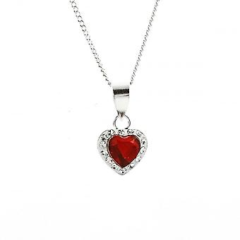 Eternity Sterling Silver Red Crystal Heart Pendant And Chain
