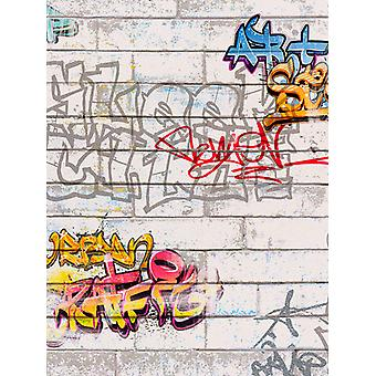 White Graffiti Wallpaper AS Creation 93561-1
