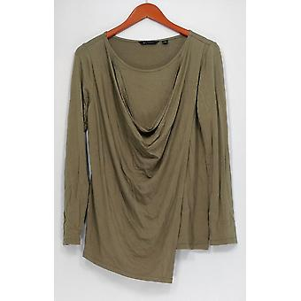 H par Halston Top Long Sleeve Wrap Front Cowl Neck Green A278919