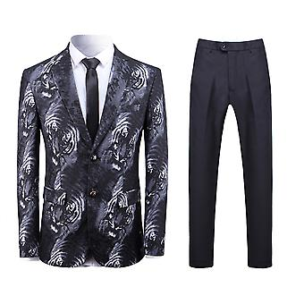 Allthemen Men's 2-Piece Suits Tiger Pattern Slim Fit Casual Blazer&Pants
